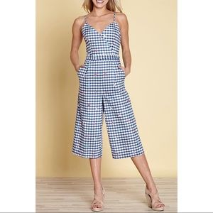 Yumi Pure Cotton Travel Icon Gingham Wrap Jumpsuit